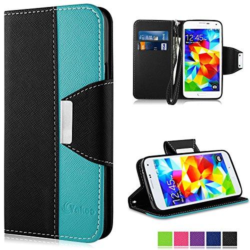 Galaxy S5 Custodia - Vakoo Samsung Galaxy S5 Cover flip a portafoglio in pelle sintetica premium Protettiva Custodia per Samsung Galaxy S5/S5 Neo (Nero Blu)