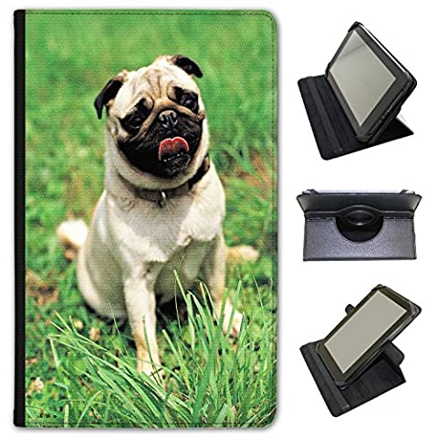 Pug In The Park Ready To Play Universal Faux Leather Case Cover / Folio for the Samsung Galaxy Tab E 9.6