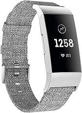 Cooljun Für Fitbit Charge 3 Armband, Woven Ersetzerband Verstellbares Zubehör Uhrenarmband mit Edelstahlschnalle Watch Band Strap Armbänd für Fitbit Charge 3