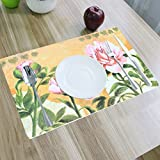 Kuber Industries Designer Dining Table Placemats Set Of 6 Pcs With Tea Coasters Color & Print Might Be Vary As Per Availability (Place044)