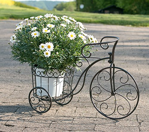 Pflanzfahrrad Metall schwarz Deko-Fahrrad mit Pflanzkorb Blumenständer