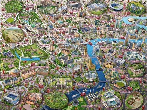 Alu Dibond 40 x 30 cm: London Sehenswürdigkeiten von Adrian Chesterman/MGL Licensing