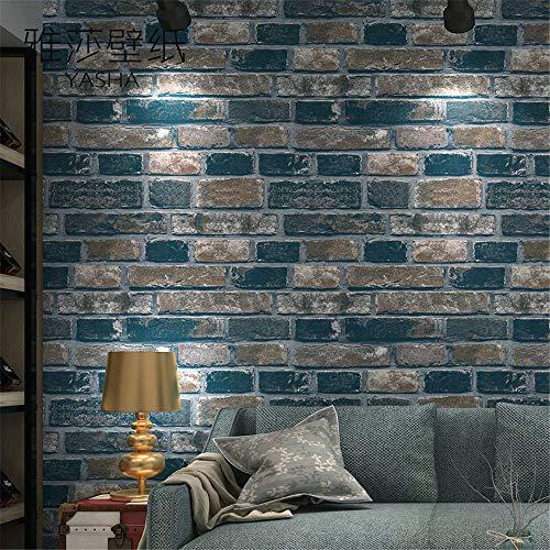 ZCHENG Vlies Ziegelsteinmuster Retro Tapete Wohnzimmer speichern Hintergrundbild 53 cm x 10 m, E