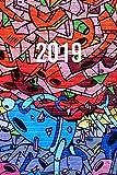 2019: Jan - Dez Wochenplaner | 365 Tage Terminkalender mit Uhrzeit | 1 Tag auf 1 Seite, ca. A5 | Roboter Mural