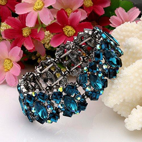 EVER FAITH® Cristal Autrichien Art Déco Elégant Noces Superbe Bracelet Chaîne Elastique Bleu