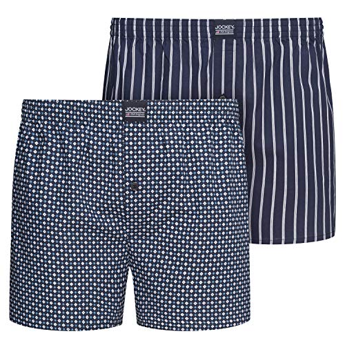 Jockey Everyday Woven Boxer 2 Pack, M, Navy -