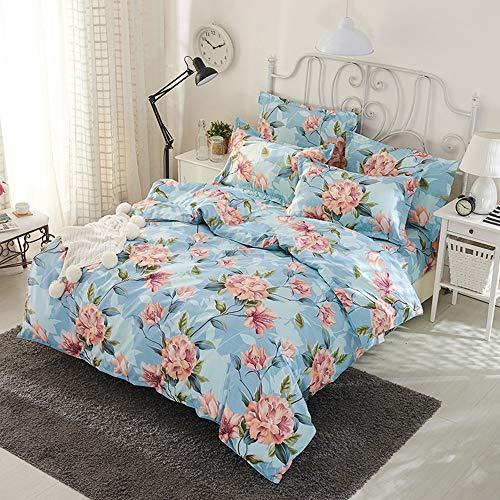 YJJSL Cotton-Bettwäsche Set, Student Schlafzimmer europäischen Stil Bettbezug Set, Mode Blumen Bettbezug Set-abnehmbare 3/4 Pices (Farbe : D) -