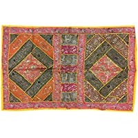 Mogul Interior Ethnic Handmade Vintage Wall Hanging-Indian Traditional Antique Tapestry Size 60 X 40 Inches