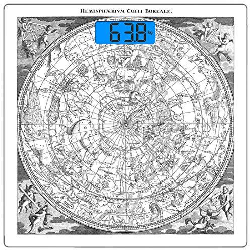 Precision Digital Body Weight Scale Konstellation Ultra Slim gehärtetes Glas Personenwaage Genaue Gewichtsmessungen, detaillierte Vintage boreale Hemisphäre Astronomie Antike antike Figuren Kunstwerk (Vintage Astronomie)