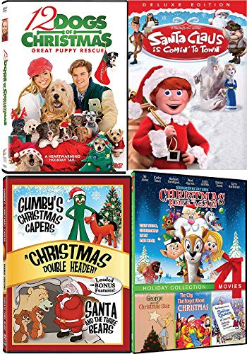 Dogs & Santa Holiday Movie Collection Santa Claus is Comin' To Town / 12 Dogs Puppy Rescue / Gumby Capers / George Star / Snow Queen / Here Again City That Forgot Animated DVD Family Set (Gumby Dvd)