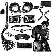 Juguetes de sexo para parejas, para los amantes del SM en la cama, 10 piezas en negro, herramientas de bondage, negro