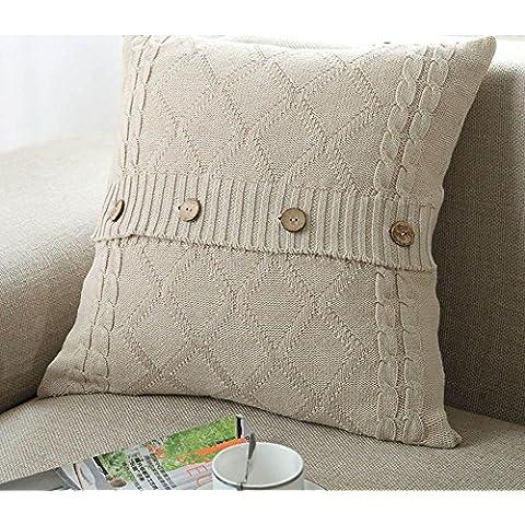 Più colore stile semplice divano cuscino/Tinta unita in cotone lavorato a maglia guanciale/semplice pulsante stile-D 45x45cm(18x18inch)VersionA