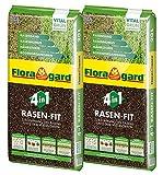 Floragard 4 in 1 Rasen-Fit 2x20 L für 20 m² ? Rasenerde ? Rasensubstrat zur Neuanlage ? zur Ausbesserung und Pflege des Rasens ? zum Topdressing nach dem Vertikutieren -