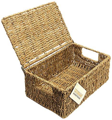wicker storage baskets with lids. Black Bedroom Furniture Sets. Home Design Ideas