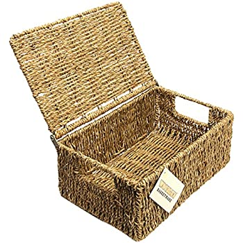 WoodLuv Seagrass Storage Basket With Medium Lid