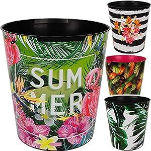 alles-meine.de GmbH Papierkorb / Behälter – Motiv-Mix – Pflanzen & Blumen – inkl. Name – 10 Liter – wasserdicht – aus Kunststoff – Ø 28 cm – großer Mülleimer / Eimer – Abfalleime..