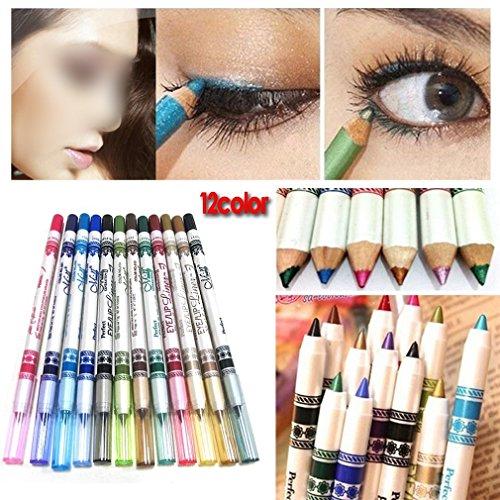 Ensemble de 12 Crayons Contour des Yeux Étincelants, Fard à paupières, Maquillage des yeux. Cosmétique. Eyeliner Lipliner, Browliner by RIVENBERT
