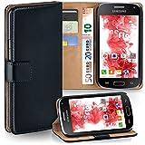 moex Samsung Galaxy Core LTE | Hülle Schwarz mit Karten-Fach 360° Book Klapp-Hülle Handytasche Kunst-Leder Handyhülle für Samsung Galaxy Core LTE Case Flip Cover Schutzhülle Tasche