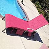 HOMYY Tumbona con bolsillos, bolsa de sol, playa, ocio, mate para vacaciones, jardín, salón, viajes, resistente al sol, Rosa roja