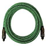 [i!®] 10m Premium Nylon Toslink Kabel | Toslink Stecker auf Toslink Stecker | Optisches Digital Audiokabel LWL HIFI | grün