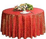 Hochzeiten Bankette Hotels Tischtennis Zubehör Runde Tischdecken 220 * 220CM (Rot)
