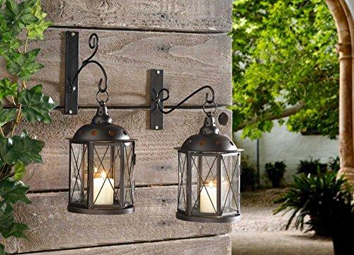 SIDCO Hänge Laterne Metall Windlicht Wandlaterne Antik Kerzenhalter Lampe Gartenlampe