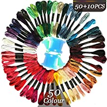 iNeith Cross Stitch Threads Rainbow Colour Floss Embroidery 50 Skeins with 10 Pieces Floss Bobbins