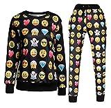 Surenow Femme Homme Combinaison Sweat-shirt Pull Leggings Pantalon Emoji XL