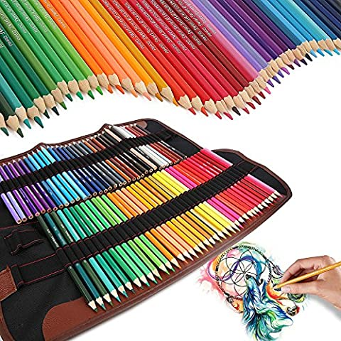 72 Coloured Pencils Art Set, Iyowin Watercolor Colored Pencil Sets Adults Coloring Book pencils Kids Artist Sketch Writing Cartoon Artwork 72 Assorted Colors, With Roll-up Canvas Pencil Holder Organizer