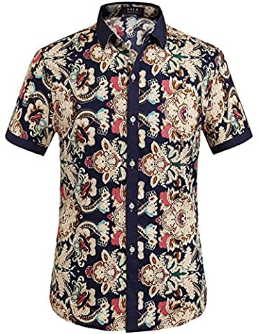 SSLR Men's Flower Casual Button Down Short Sleeve Shirt (X-Large,