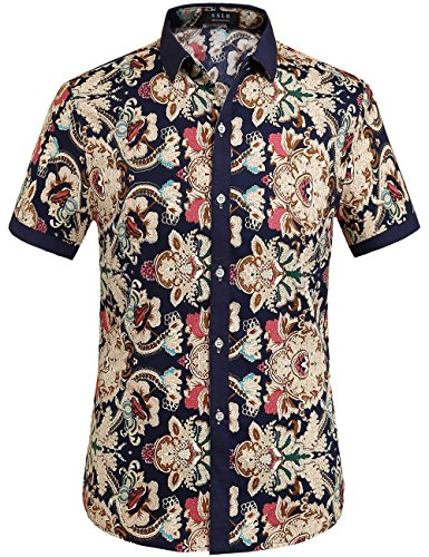 SSLR Herren Blumen Baumwolle Freizeit Regular Fit Button Down Kurzarm Hemd (Medium, Marine) (Baumwolle Shirt Hawaiian)