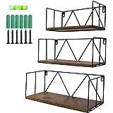 Amazon Brand – Umi - Lot de 3 Etagères Flottantes Etagères Murales en Bois avec Structure en Métal,pour salles de Bain, Chamb