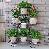 Blumenregal ZJM Eisen-Blumen-Stand-Innenbalkon Mehrschichtiges Blumen-Regal Boden-stehendes Blumen-Gestell-Wohnzimmer Platzsparendes Blumen-Topf-Gestell Gartenregal (Farbe : Bronze)