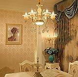 GMM® Lampadario a candela in lega di zinco in stile europeo Lampada a forma di fiore camera da letto salotto Ristorante Lampadario di cristallo di cristallo di giada