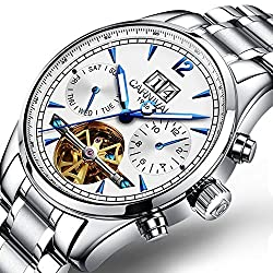 Mens Multifunction Calendar Analog Automatic Mechanical Watch Luminous Exhibition Movement Wrist Watches (Steel Band-White)
