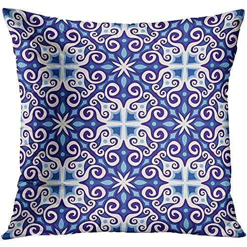 CHSUNHEY Fodera per Cuscino Decorativo Throw Pillowcase Blue Abstract Detailed Persian Colorful Aged Ancient Antique Arab Arabesque 18 x 18In,Eco-Friendly Print