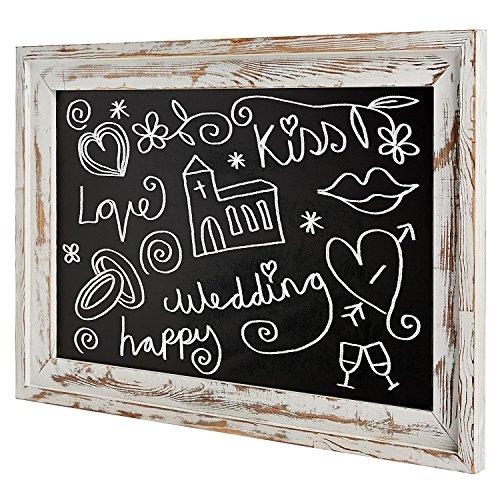 MyGift Wand montiert Gerahmte Tafel aus rustikalem Holz Shabby Chic Large White Washed (Große Tafel Gerahmte)