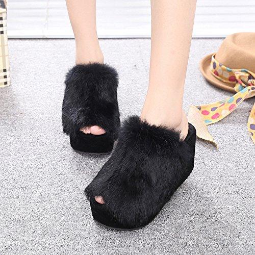 ZZHH Slippers Autunno/inverno donna pantofola peluche piattaforma piattaforma tacco alto
