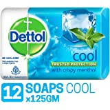 Dettol Cool Germ Protection Bathing Soap bar, 125gm, Pack of 12