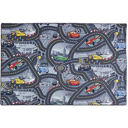 BilligerLuxus Kinderteppich Disney Cars Teppich Straßen Spielteppich grau 3 Verschiedene Größen, Größe:ca. 122 x 183 cm
