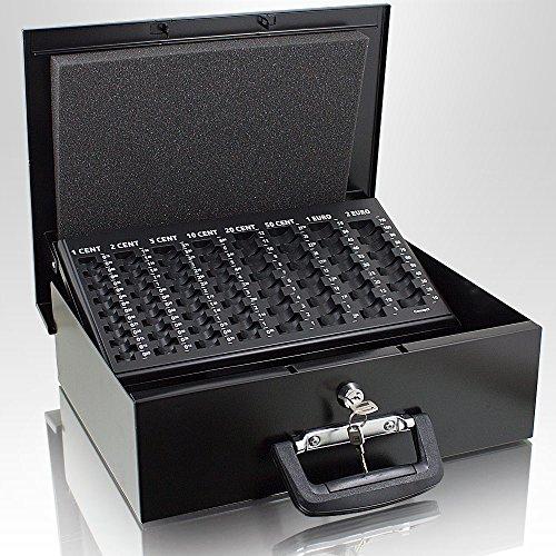 35cm Schwarz Geldtransportbox Geldkassette Münzzählbrett Zähl- und Transportkassette Münzkassette Geld Kasse Geldkasse Transportbox 350mm