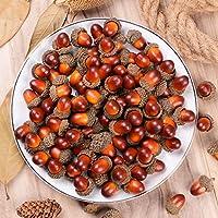 Attvn 100 Piezas Artificial Frutas Bellota Decorativa, Frutas Artificiales Acorn Bellota Decorativa para Otoño Hogar Fiesta Boda Decoracion