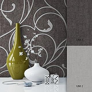 NEWROOM Barocktapete grau Vliestapete silber schwarz klassisch,Modern schöne moderne und edle Design Optik , inklusive Tapezier Ratgeber