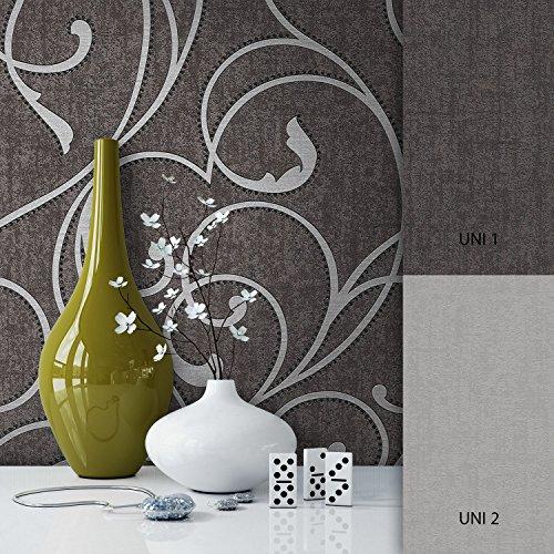 NEWROOM Barocktapete grau Vliestapete silber schwarz klassisch,Modern schöne moderne und edle...