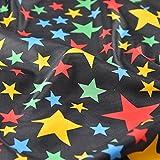 Schwarz Happy und Bright farbigen Sterne Satin Stoff Fancy