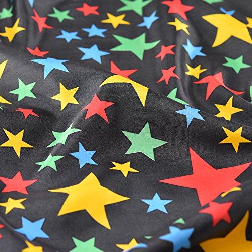 Schwarz Happy und Bright farbigen Sterne Satin Stoff Fancy Kleid Karneval und Clown Kostüme Breite 150cm–Meterware