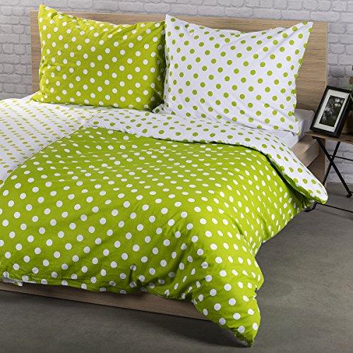 4Home Bettwäsche Grüner Punkt, Baumwolle, weiß, 200 x 160 cm, 3-Einheiten