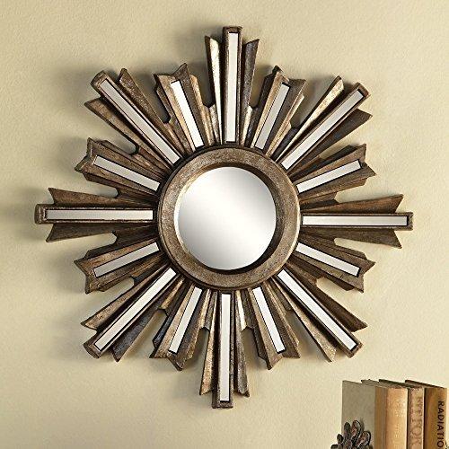 Anecdotal Aardvark Oro Deco Sunburst Convesso Specchio da Parete