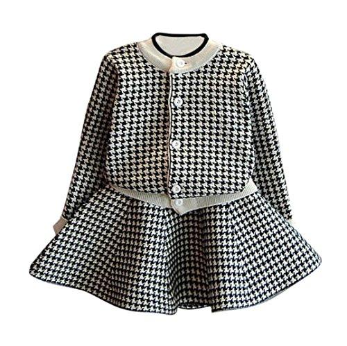 Mädchen Kleidung Set Kolylong® 1 Set ( 2-7 Jahre alt) Kinder Baby Mädchen Herbst Plaid Strick Anzug (Tops + Rock) Sweatshirt Mantel Outfits Kleiderset ((6-7 Jahre alt), (Robe Kostüm Schwarzen Kleinkind)