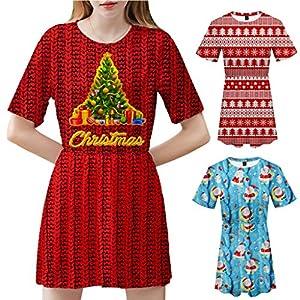 Floweworld Damen Minikleider Mode Weihnachten Bedruckte Sweatshirts mit Rundhalsausschnitt Beiläufige Kurzarm A-Linien Kleider Party Kleider